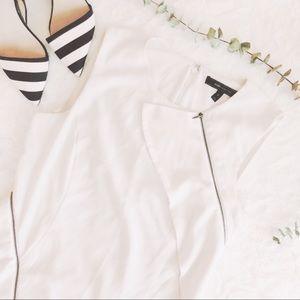{bcbg} zippered ruffle blouse